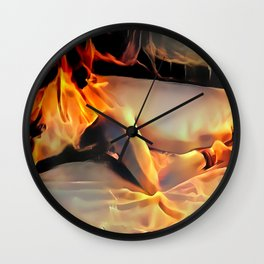 Flames in bedroom - erotic photography rework, sexy slave girl in submissive pose, BDSM cuffs on leg Wall Clock