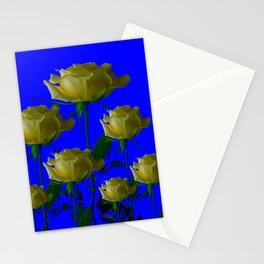 IVORY WHITE LONG STEMMED ROSES ON BLUE Stationery Cards
