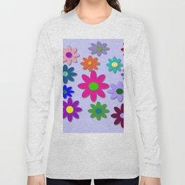 Flower Power - Light Purple Background - Fun Flowers - 60' Hippie Syle Long Sleeve T-shirt