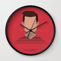 ronaldo Wall Clocks featuring Minimalist World Cup - Ronaldo by Nuff