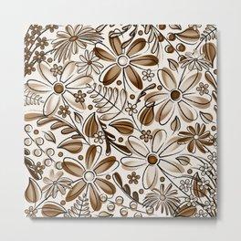 Brown and Khaki Flower Garden - Hand Drawn Vector Florals Metal Print