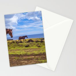 Horses on easter island cliffs Stationery Cards
