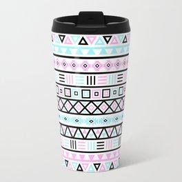 Aztec Influence Pattern Blue Black Pink White Travel Mug