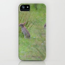 Rabbits In A Meadow iPhone Case