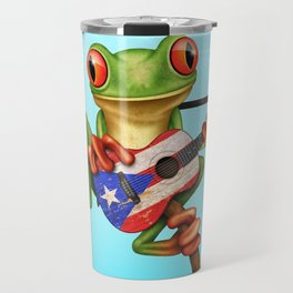 Tree Frog Playing Acoustic Guitar with Flag of Puerto Rico Travel Mug