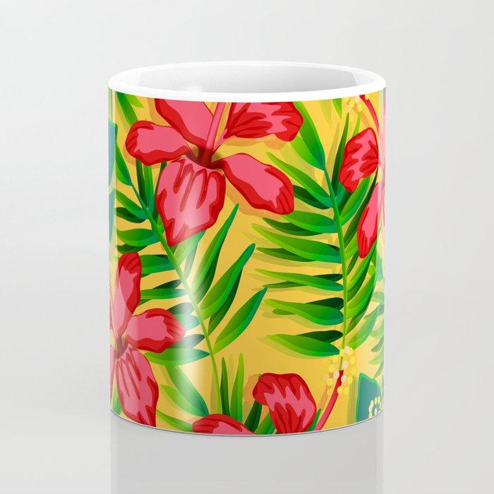 Watercolor flowers on tropical background 6 Coffee Mug