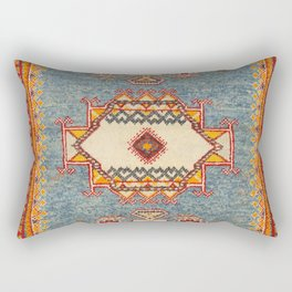 Moroccan 19th Century Authentic Colorful Baby Blue Vintage Patterns Rectangular Pillow