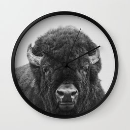 Buffalo Print, Bison Wall Art, Photography Print Wall Clock