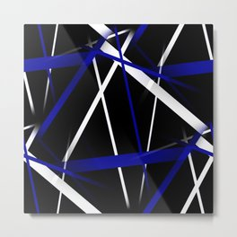Seamless Royal Blue and White Stripes on A Black Background Metal Print