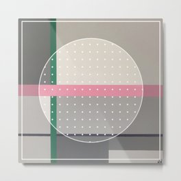 Green Line - dot circle graphic Metal Print