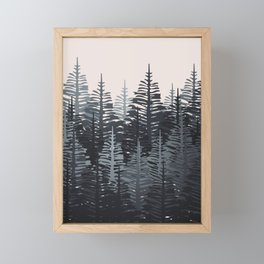 Pine Forest - Black & Grey Framed Mini Art Print