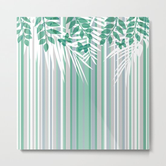 Multi-colored striped pattern with green tones . Metal Print