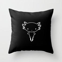 Minimalistic Cute Axolotl White Outline Throw Pillow