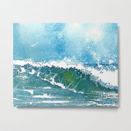 Watercolor Surfing Metal Print