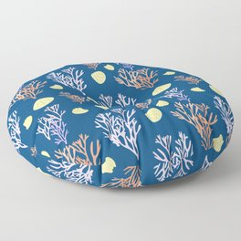 Corals & Shells Seamless Pattern with Deep Blue Background Floor Pillow