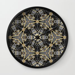 Gray and Gold Abstract Geometric Part VII. Wall Clock