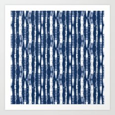 Shibori Stripes Indigo Blue Art Print