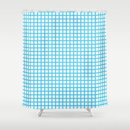 Blue On White Grid Shower Curtain