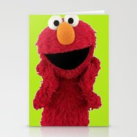 duvet cover Stationery Cards featuring ELMO DUVET COVER by aztosaha