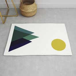 Mountains and Sun Modern Art Print in Teal, Chartreuse and Navy Rug