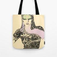 megan lara Tote Bags featuring Lara by hyperpattern