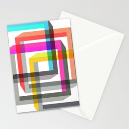 Colorful impossible 3D shapes overlapping. Stationery Cards
