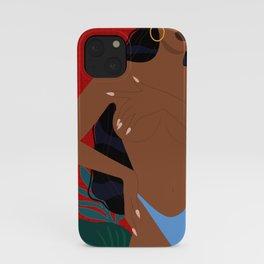 Handful // Woman, Femme, Feminine, Red, Black, Blue, Green, Plants iPhone Case