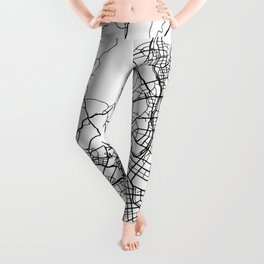 SEOUL SOUTH KOREA BLACK CITY STREET MAP ART Leggings