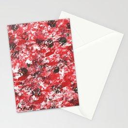 Red Camo Pattern Print Acrylic Artwork Black Splatter Painting Stationery Cards