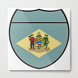 Delaware Flag In An Interstate Sign Metal Print