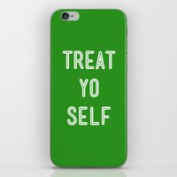 parks and recreation iPhone & iPod Skins featuring Treat Yo Self Green - Parks and Recreation by Sandra Amstutz