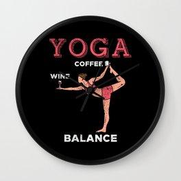Yoga Balance Coffee & Wine Wall Clock