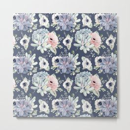 Beautiful Succulent Garden Navy Blue + Pink Metal Print
