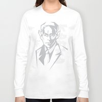 kafka Long Sleeve T-shirts featuring Kafka portrait in Greys by aygeartist