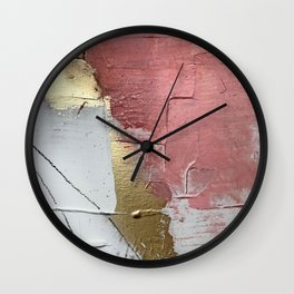 Darling: a minimal, abstract mixed-media piece in pink, white, and gold by Alyssa Hamilton Art Wall Clock