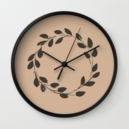 Simple Wreath on Hazelnut Wall Clock