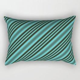 Black and Teal Modern Stripes Rectangular Pillow