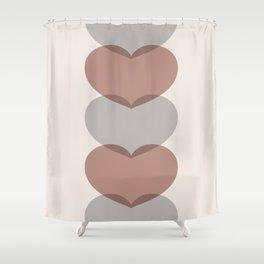 Hearts - Cocoa & Gray Shower Curtain