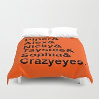 oitnb Duvet Covers featuring OITNB Orange Inmates Names by Double Dot Designs