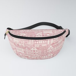 cafe buildings pink Fanny Pack