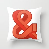 ampersand Throw Pillows featuring Ampersand by Damien Faivre