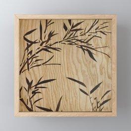 Japanese bamboo buddha wood art Framed Mini Art Print