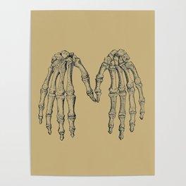 Antique Skeleton Hands Pointillism Drawing Poster