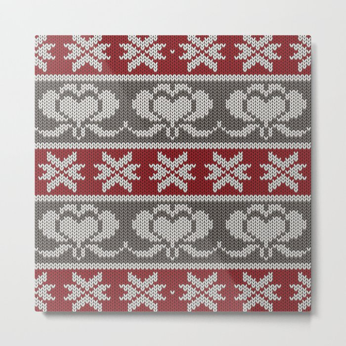 Ugly knitted Hearts Metal Print