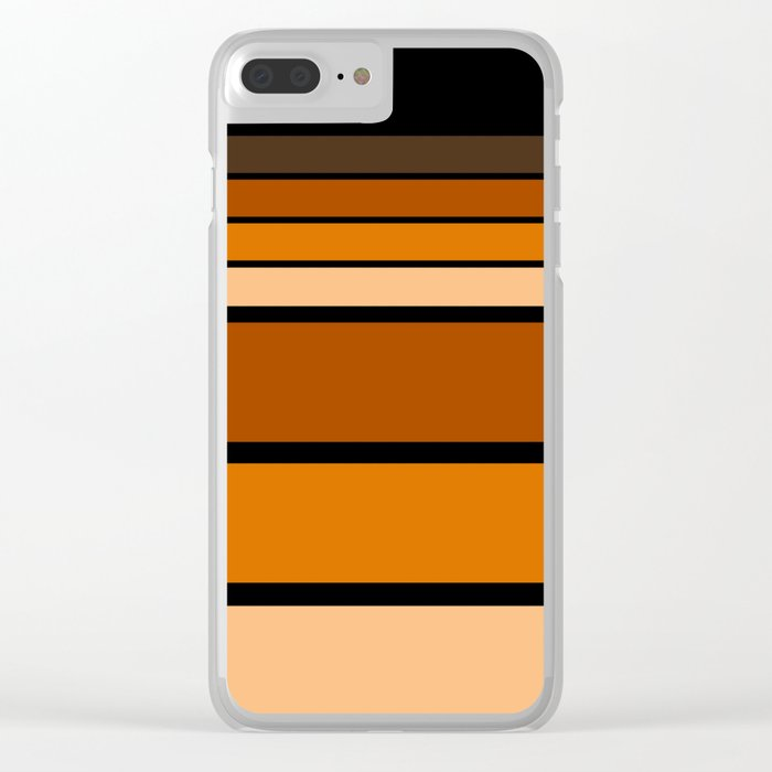 Black and yellow , brown and orange striped pattern . Clear iPhone Case