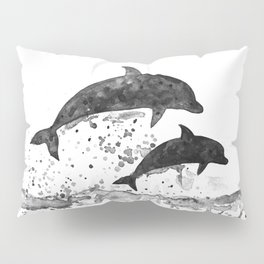 Dolphins, black and white Pillow Sham