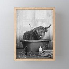 Highland Cow in the Tub Framed Mini Art Print