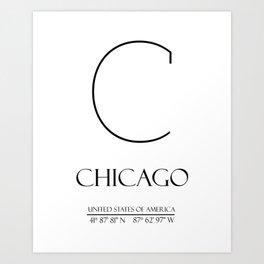 CHICAGO City Gps Coordinates Art Print