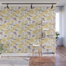 Honey Bees and Flowers - Yellow and Lavender Purple Wall Mural