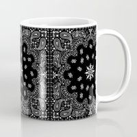 moschino Mugs featuring black and white bandana by Marta Olga Klara